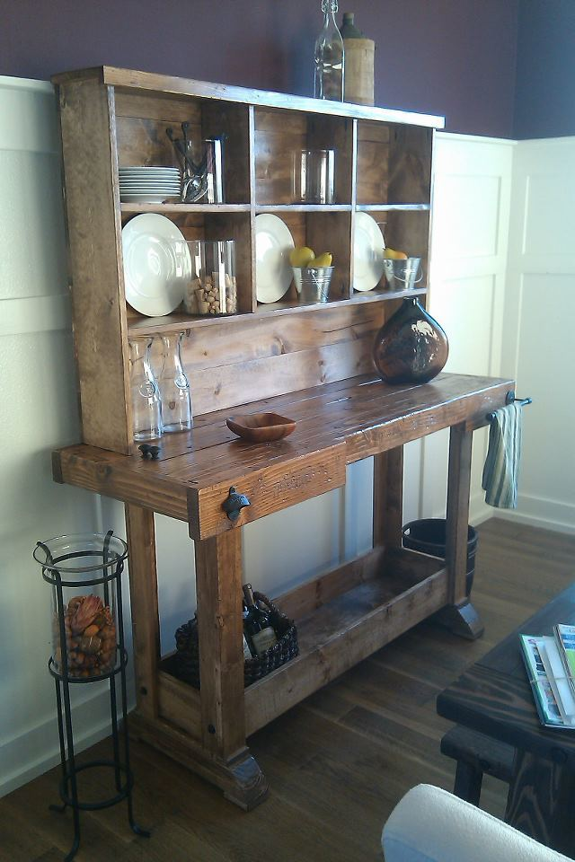 Ana White | Markham Workbench Console and Rustic Hutch ...