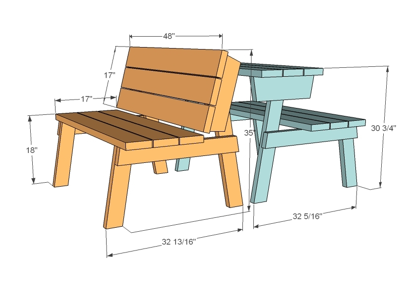 Ana White Picnic Table That Converts To Benches DIY Projects - Standard picnic table size