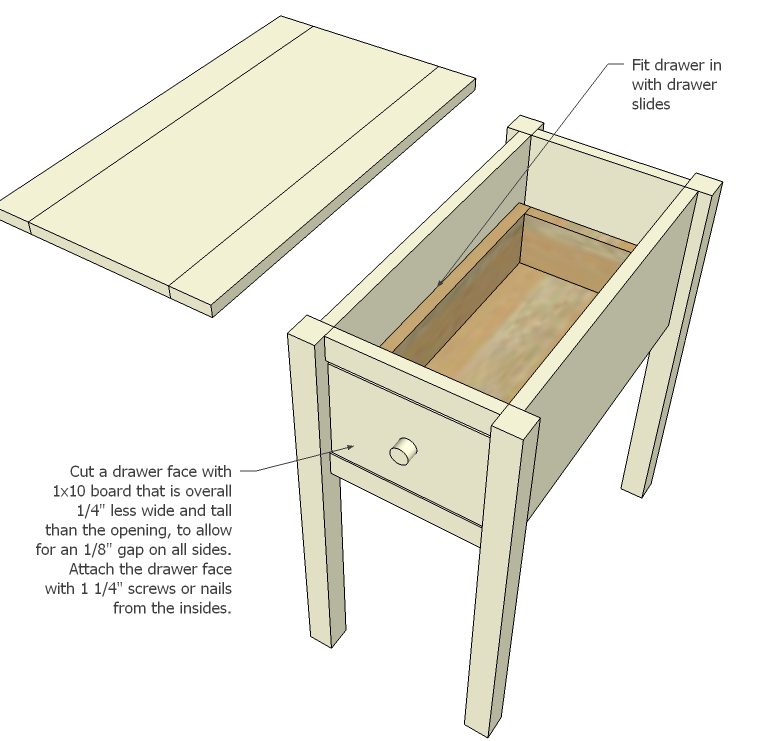 ana white | narrow cottage end tables - diy projects How to Build a Bedside Table with Drawers