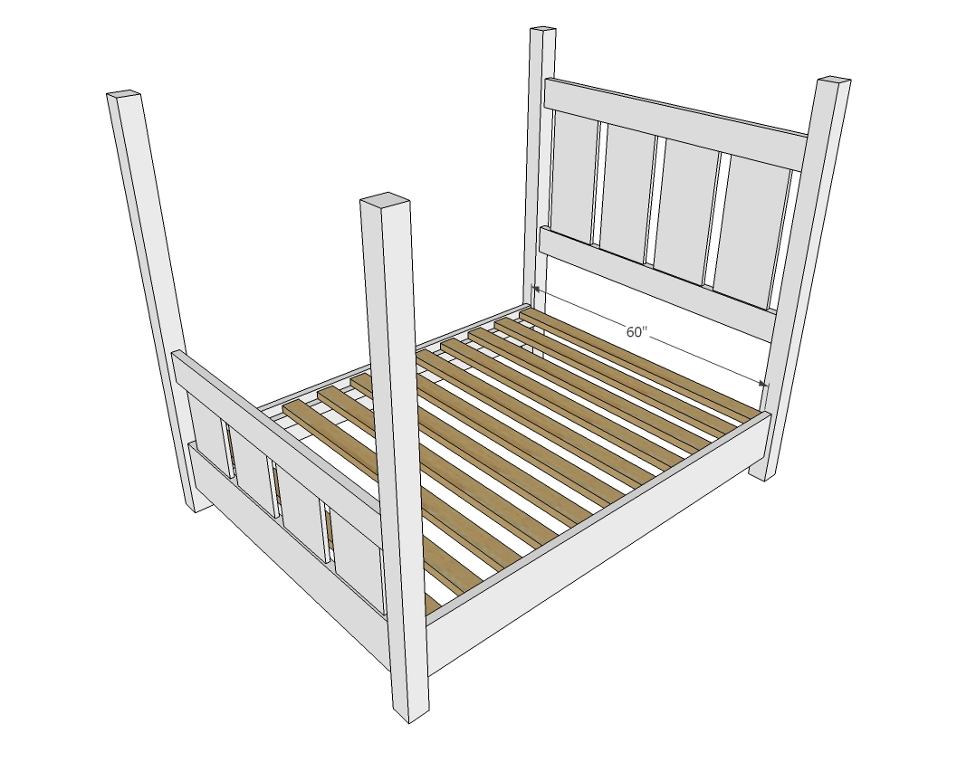 Ana white slatted four post farmhouse bed queen diy for Farmhouse bed plans full size