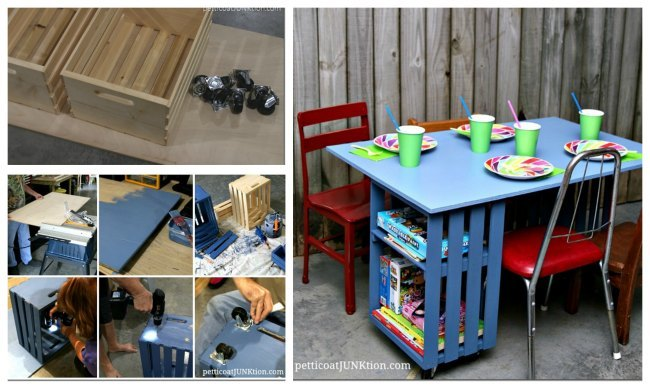 Lovely A fun and simple play table can be made wtih a larger crate on end and plywood tabletop