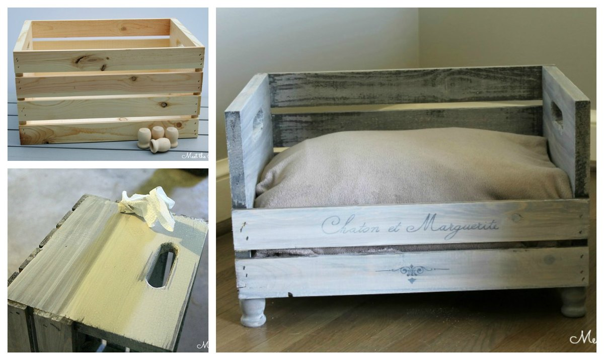 Fabulous Build your crate sized perfectly for a pet bed and leave a slat or two off the front to create a beautiful pet bed
