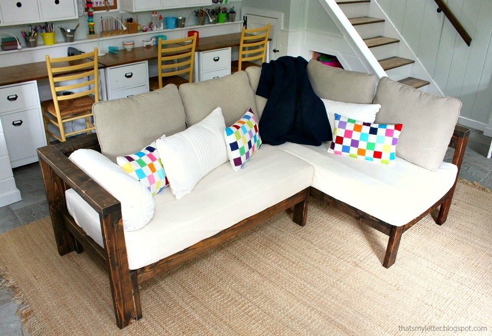 Ana White | Kids Couch   2x4 DIY Sectional With Crib Mattress Cushions    DIY Projects
