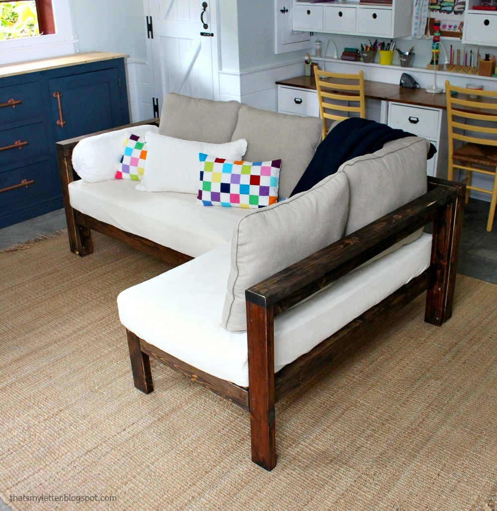 Sofa King Easy: 2x4 DIY Sectional With Crib Mattress Cushions