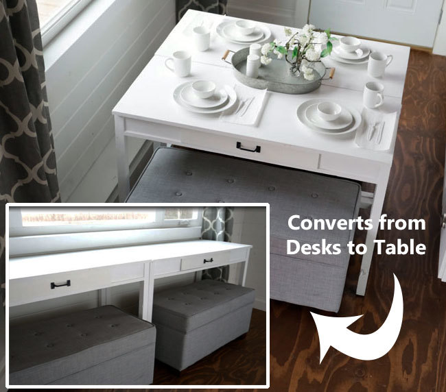 marvelous Convert Dining Table To Desk Part - 1: Clever desks that convert to a dining table. Easy DIY plans by ANA-WHITE.com