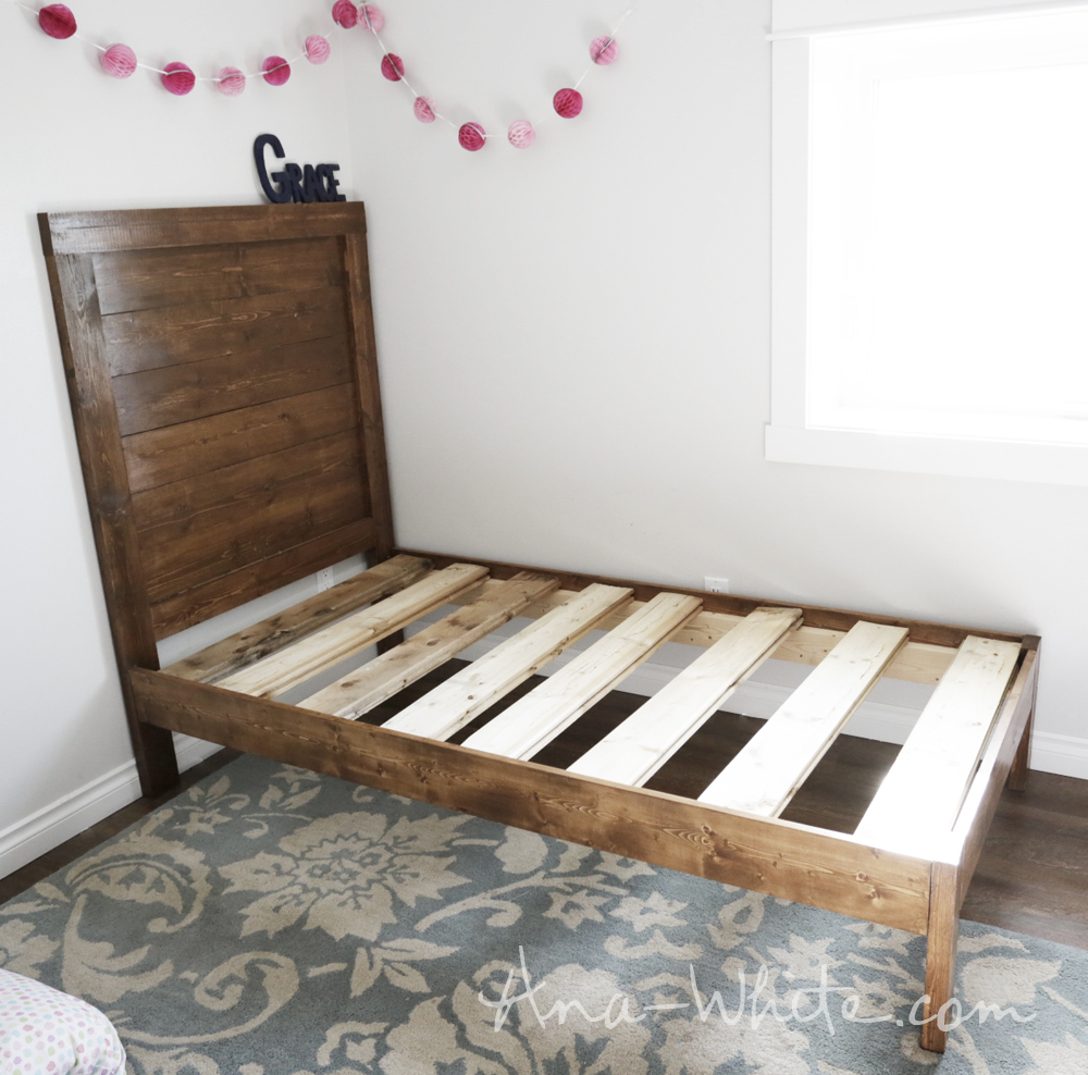 Luxury Easy DIY how to build a simple planked wood bed Free plans by ana white