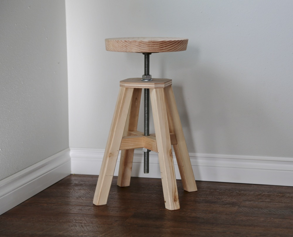 Adjustable Height Wood And Metal Stool Ana White