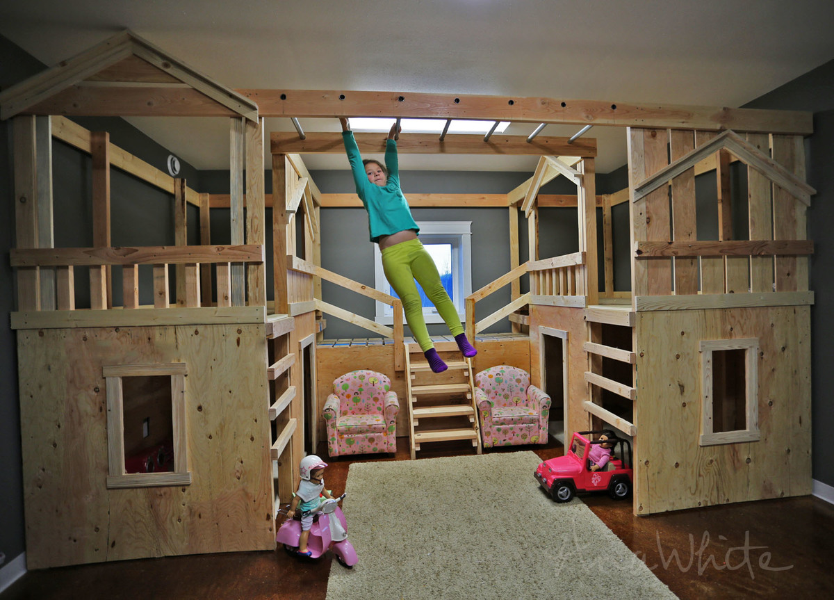 Ana white diy basement indoor playground with monkey for Diy indoor playhouse