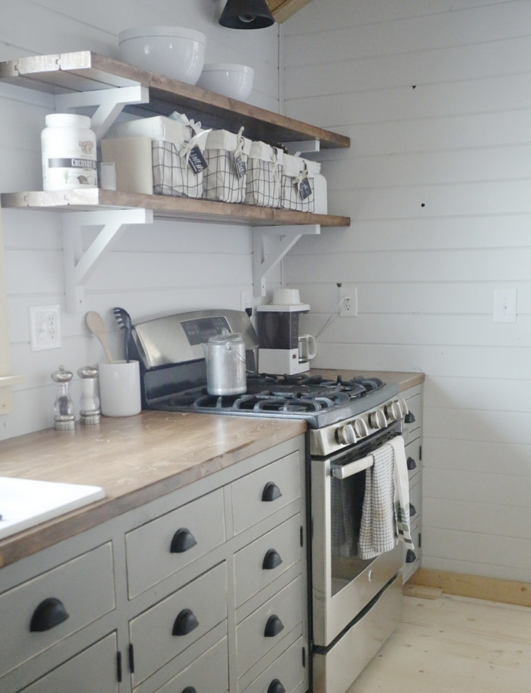 Ana white open shelves for our cabin kitchen diy projects for Kitchen cabinet shelves