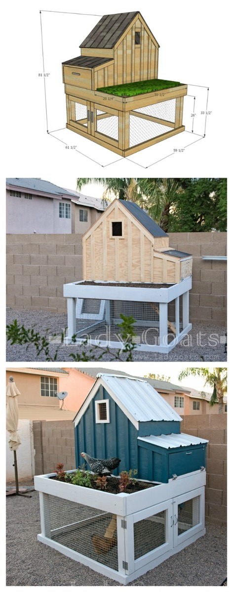 Small Chicken Coop With Planter Clean Out Tray And Nesting Box