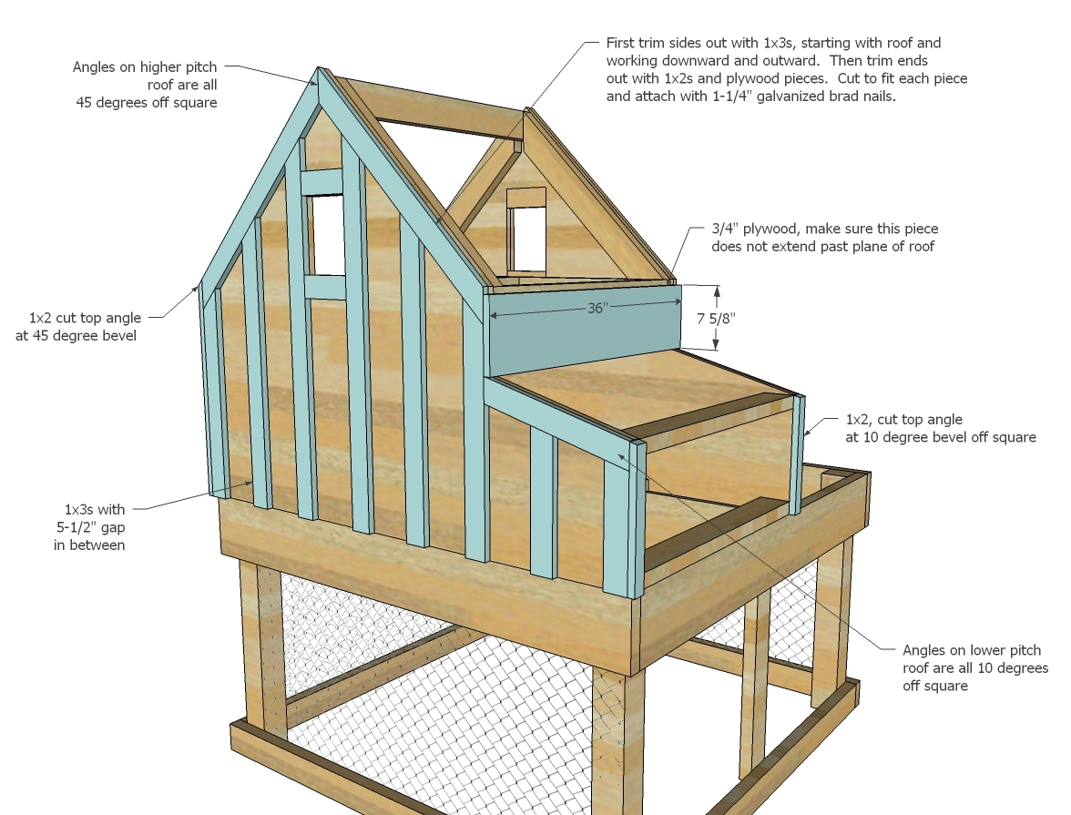 Do It Yourself Home Design: Small Chicken Coop With Planter, Clean Out Tray And