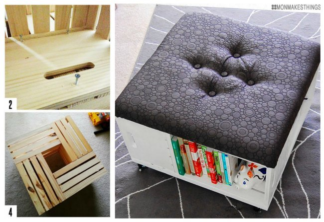 wood crate furniture diy. tutorial: storage ottoman diy by mon makes things. 8. wood crate furniture bookcase diy p