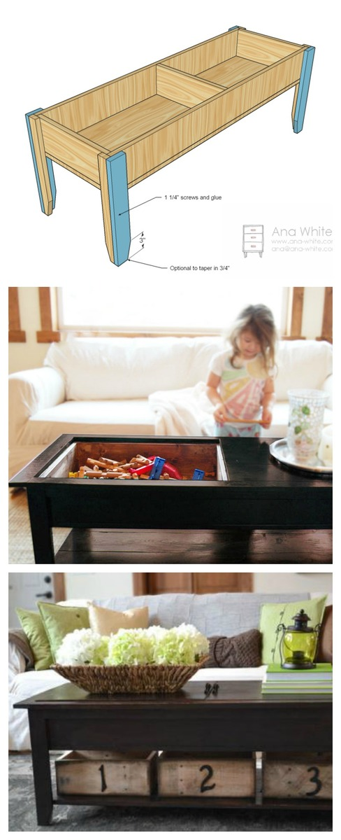 coffee table with hidden toy storage