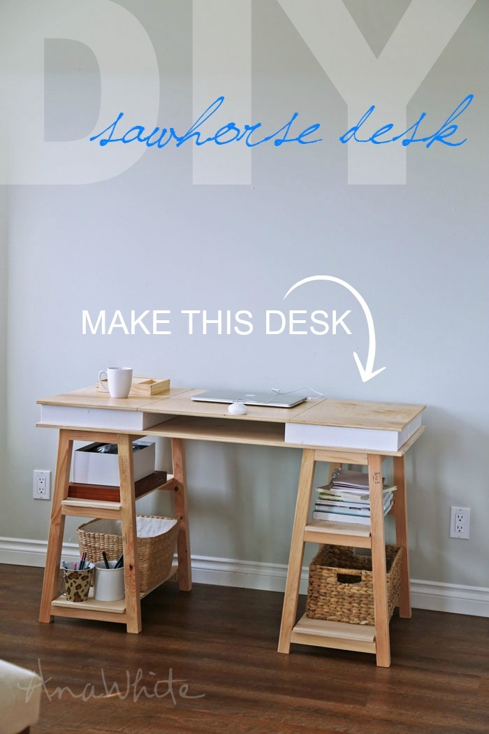 Build Your Own Sawhorse Storage Leg Desk Free Plans From Ana White