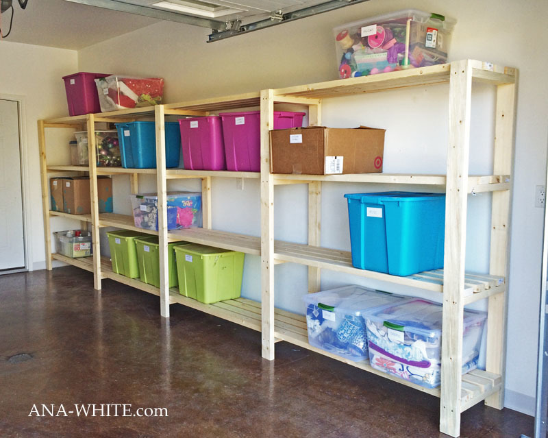 Free Plans To Build Garage Shelving Using Only 2x4s Easy And Inexpensive But Sturdy Functional Includes Video Tutorial From Ana White