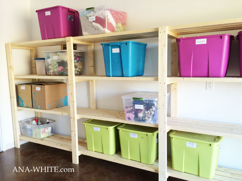 garage shelving with totes