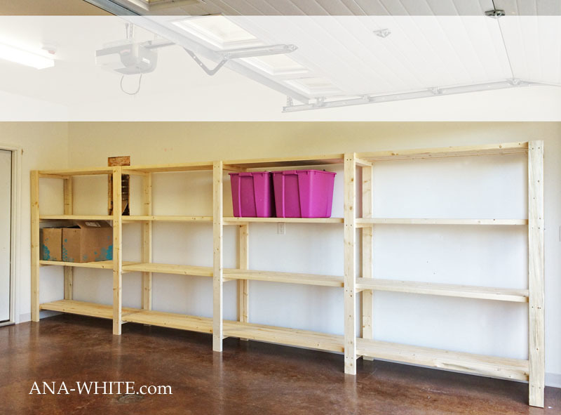 Ana white easy economical garage shelving from 2x4s for Garage storage plans