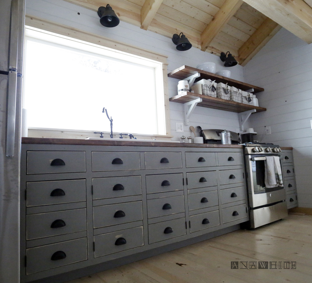 DIY Apothecary Style Kitchen Cabinets | Ana White