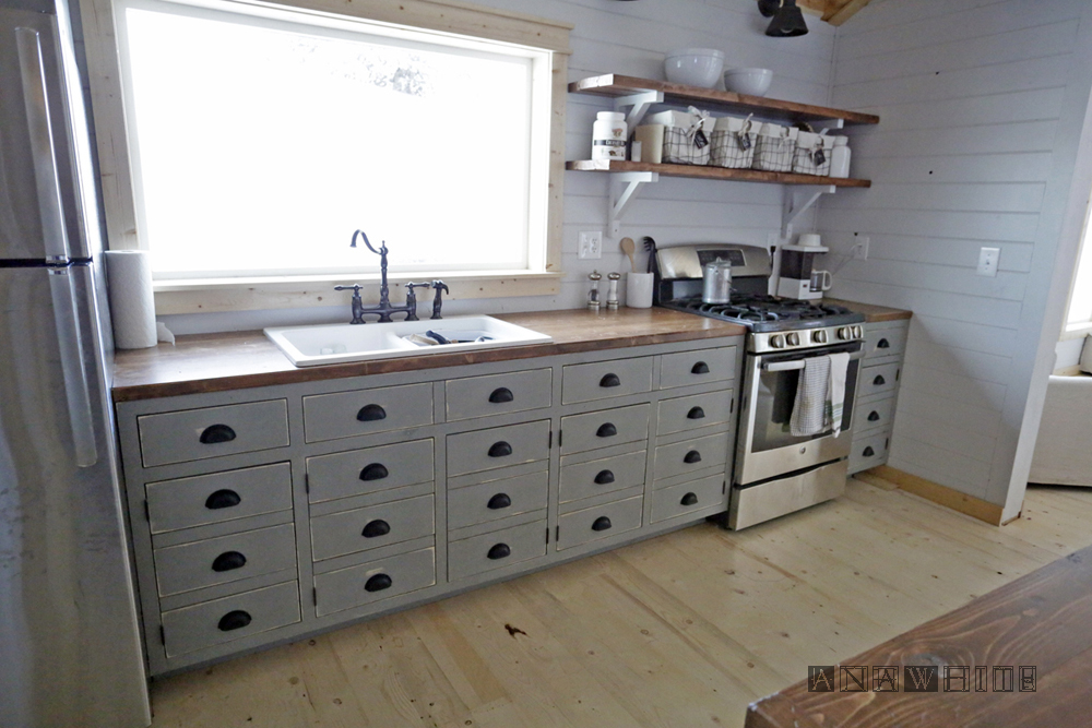 Ana white diy apothecary style kitchen cabinets diy for Diy kitchen cabinets