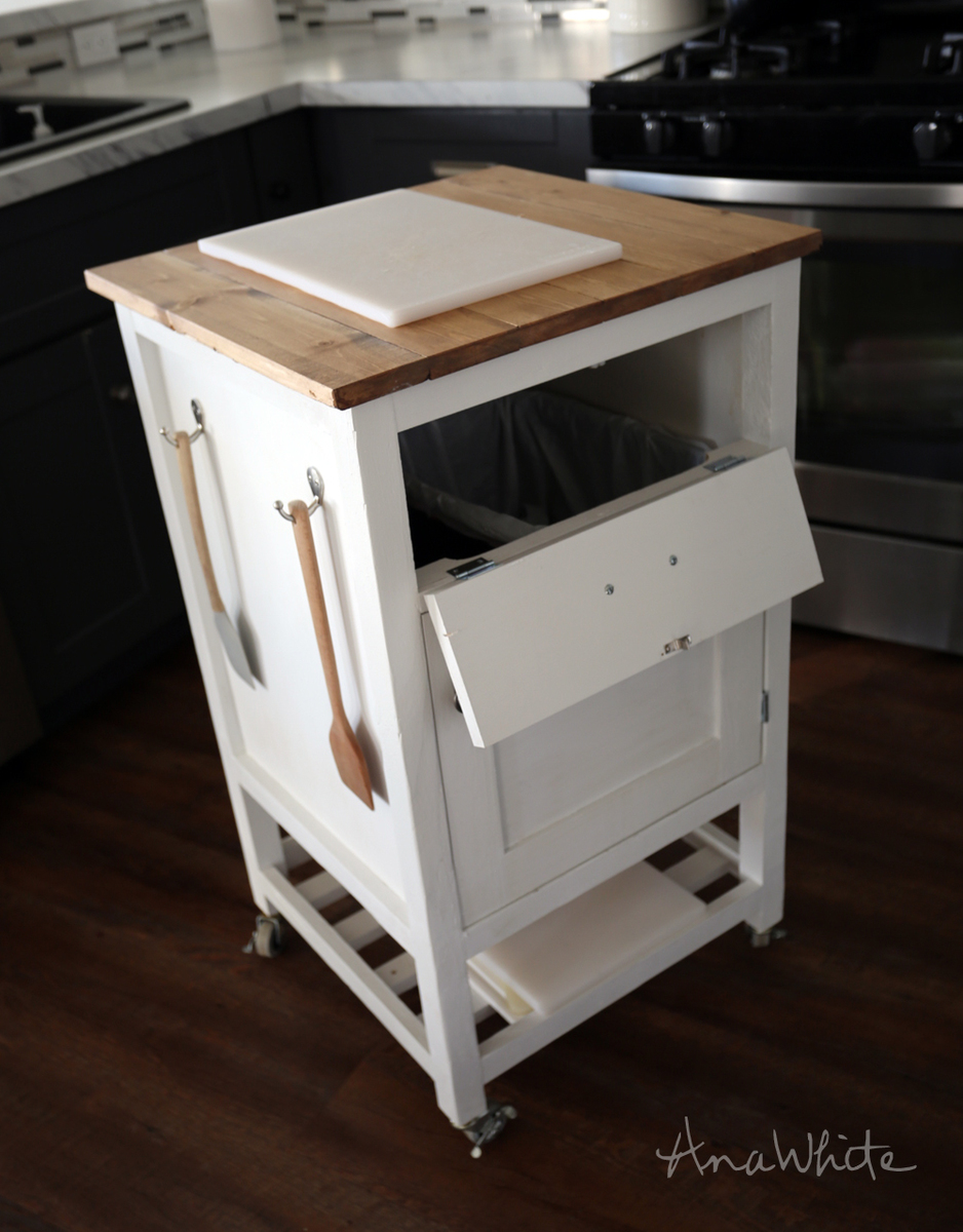 mcdonald u0027s style  but upside down  so the trash is in easy reach  i really thought and thought and thought  and might still do  about adding a     ana white   how to  small kitchen island prep cart with compost      rh   ana white com