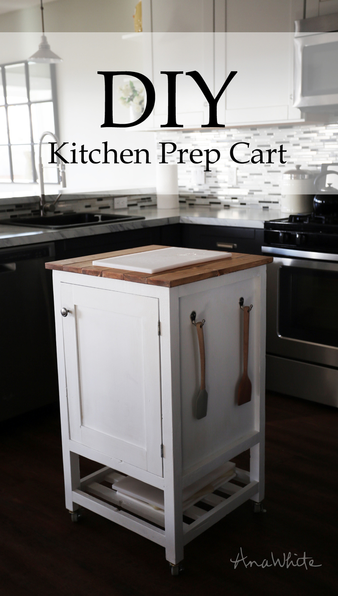 ana white how to small kitchen island prep cart with compost diy