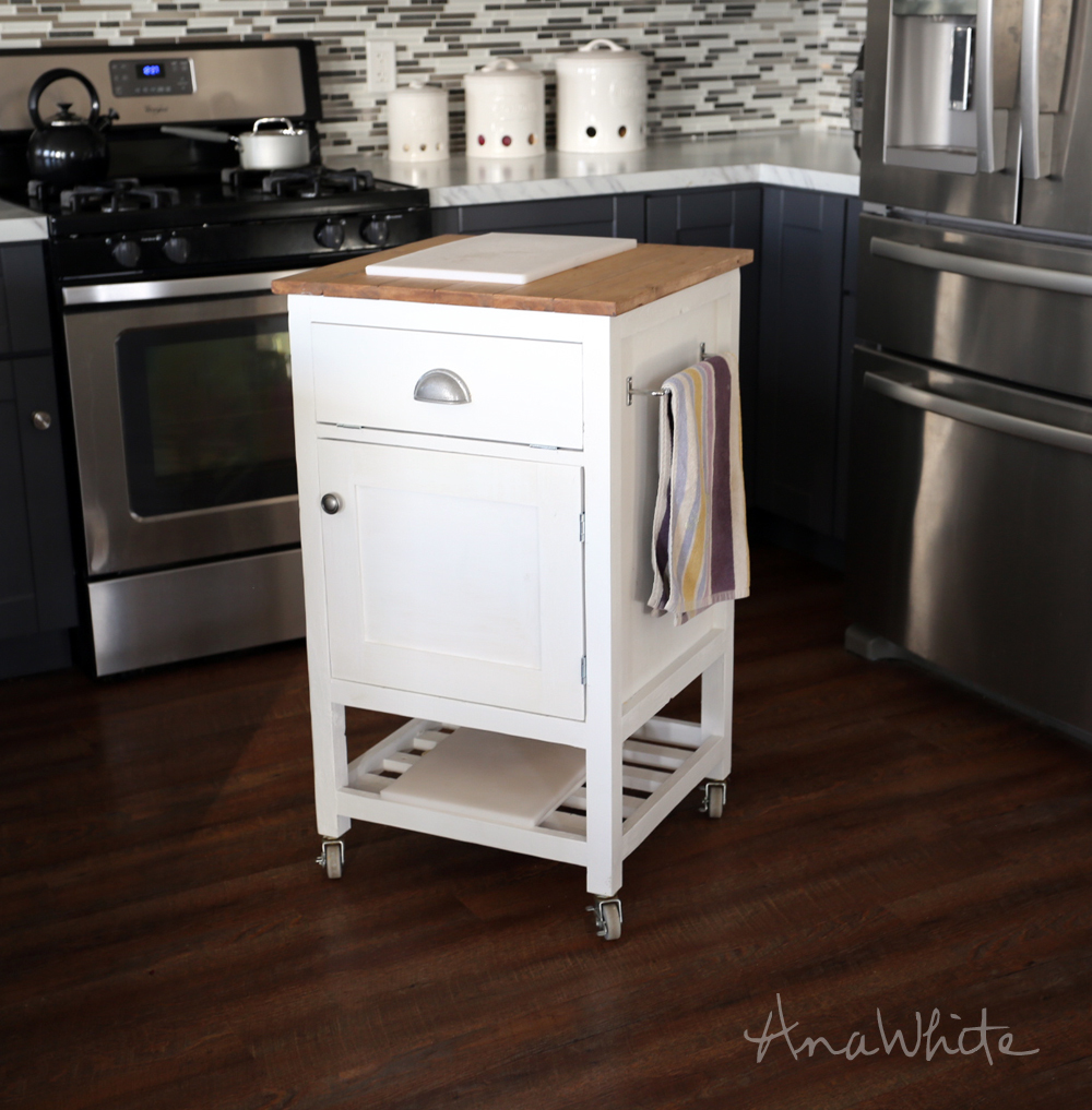Ana white how to small kitchen island prep cart with for Kitchen trolley designs for small kitchens