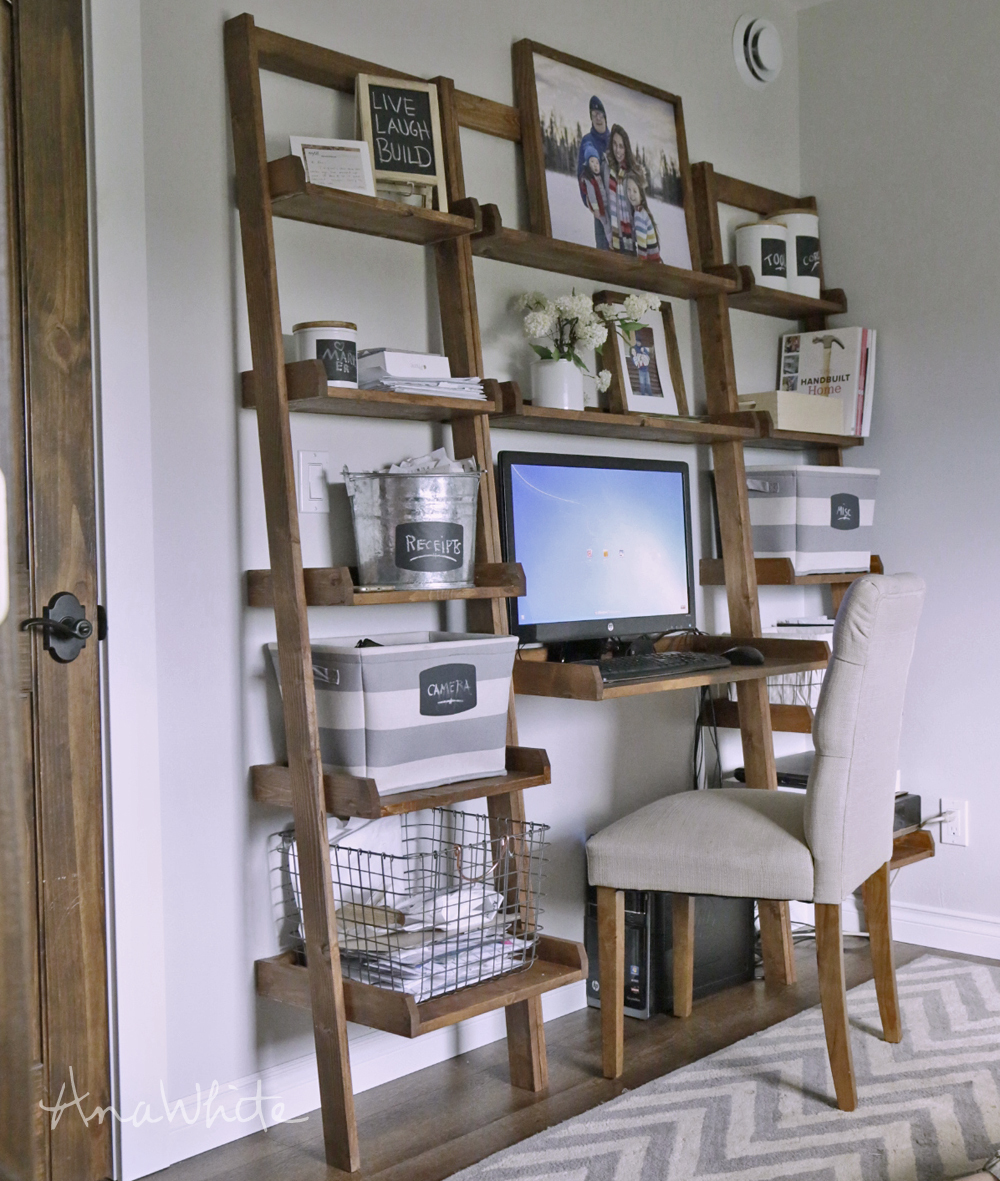 Leaning Wall Ladder Desk Ana White