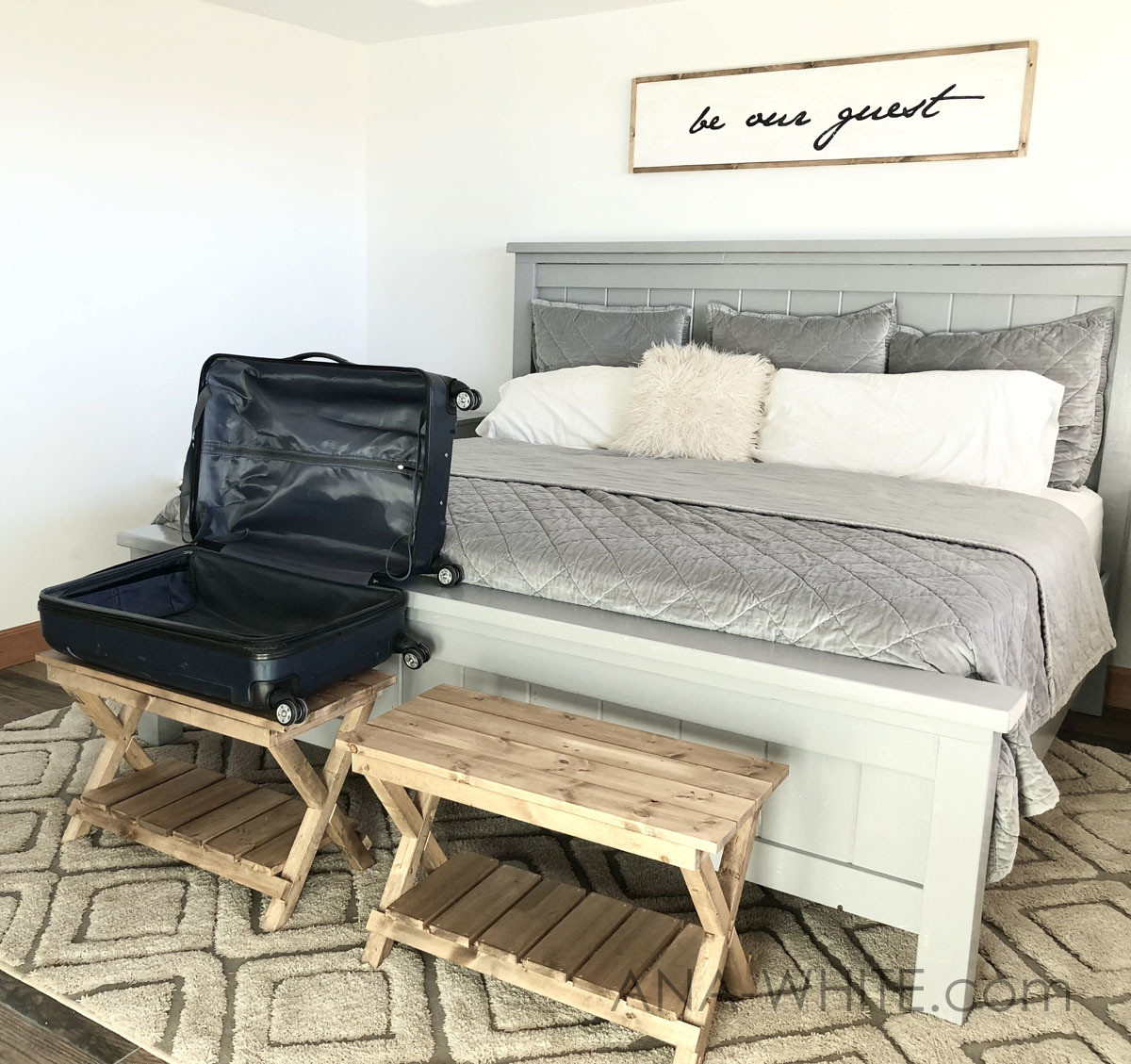 Upgraded Luggage Rack or Suitcase Stand Benches | Ana White