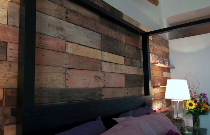 Ana White Pallet Wall from HGTV Saving Alaska DIY Projects