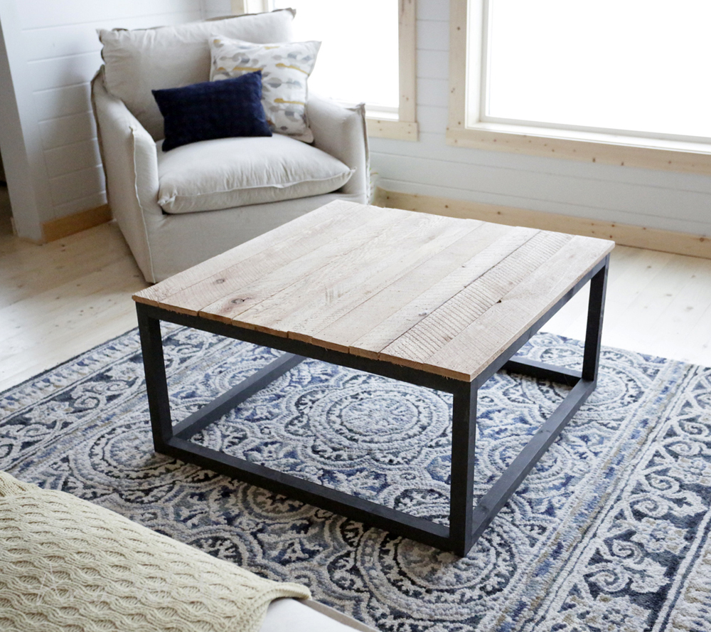 ana white industrial style coffee table as seen on diy network diy projects. Black Bedroom Furniture Sets. Home Design Ideas
