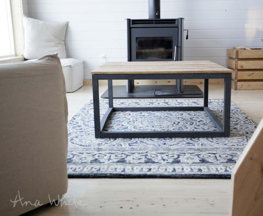 Ana white industrial style coffee table as seen on diy Homemade coffee table plans