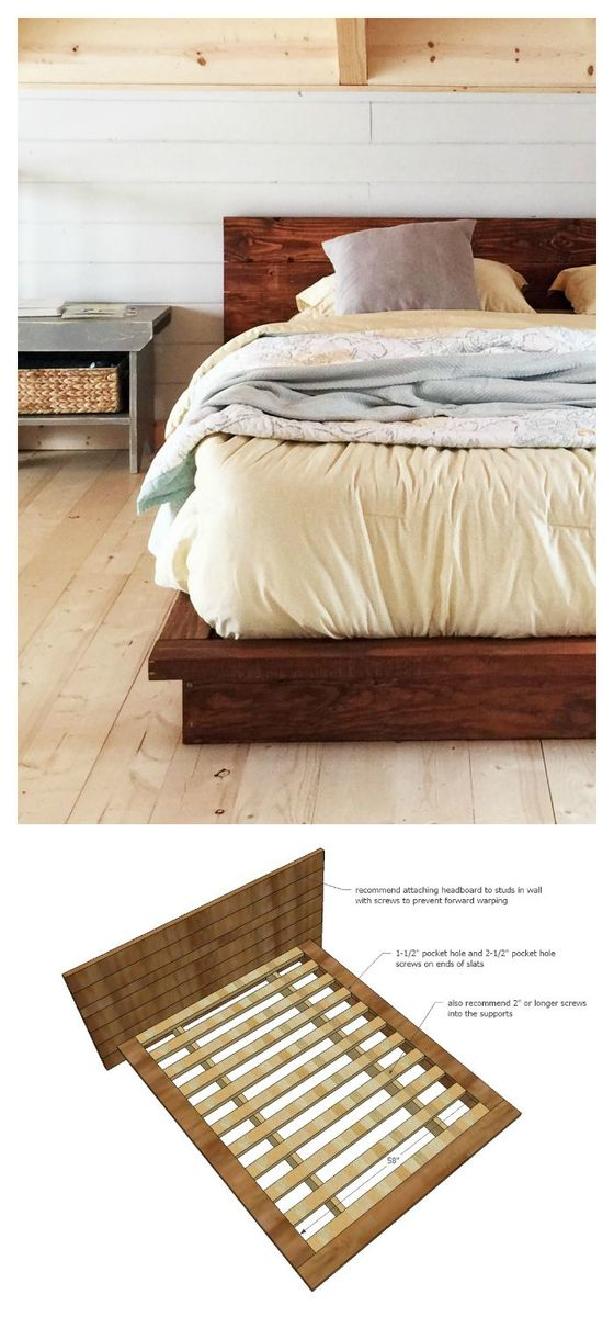 We Love The Low Height And It Makes The Room Feel Wide Open And Lofty. The  Bed Is Made Entirely Of 2x Lumber   All Leftover From The Cabin Build.