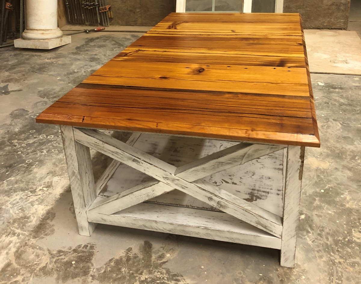 Antique Heart Pine Rustic X Coffee Table Ana White