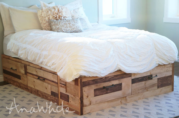 pallet wood storage bed