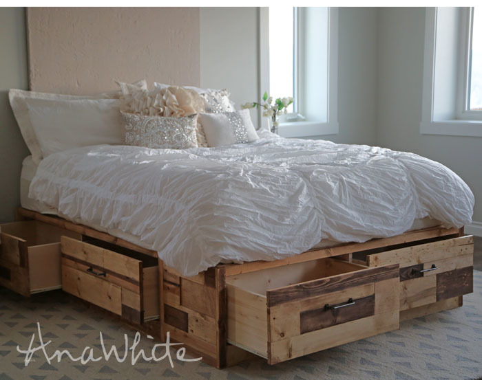 drawers open on reclaimed wood bed