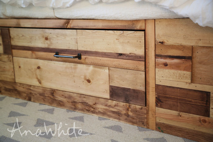 Good Use scrap wood to build a king size storage bed Free plans by ana white