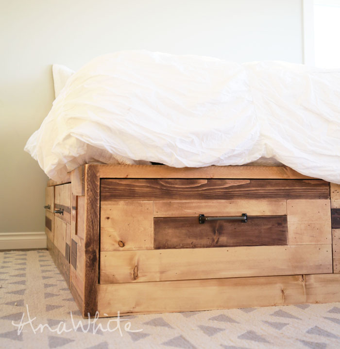 Brandy Scrap Wood Storage Bed with Drawers - KING & Ana White | Brandy Scrap Wood Storage Bed with Drawers - KING - DIY ...