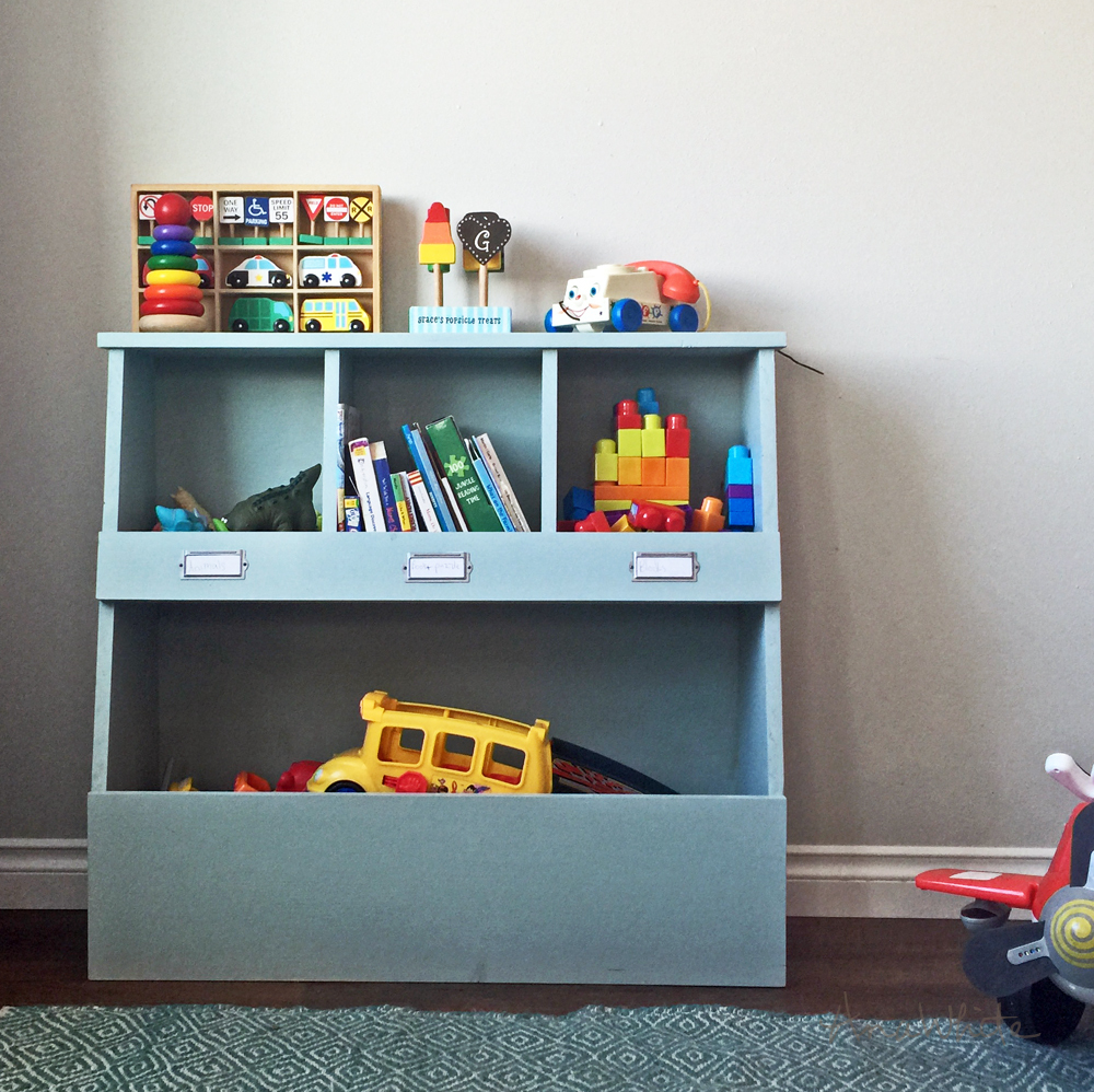 diy pine board vertical toy box with cubbies and dump storage toy bin