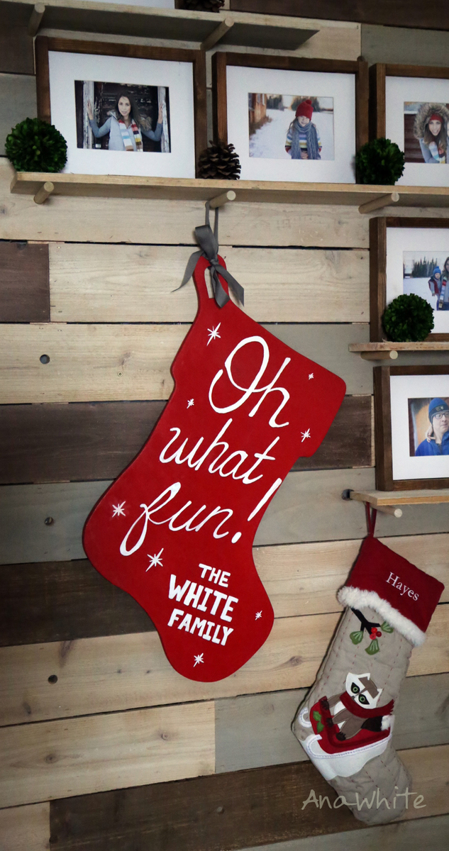 Oversized Personalized Wooden Stocking Wall Decor For Home