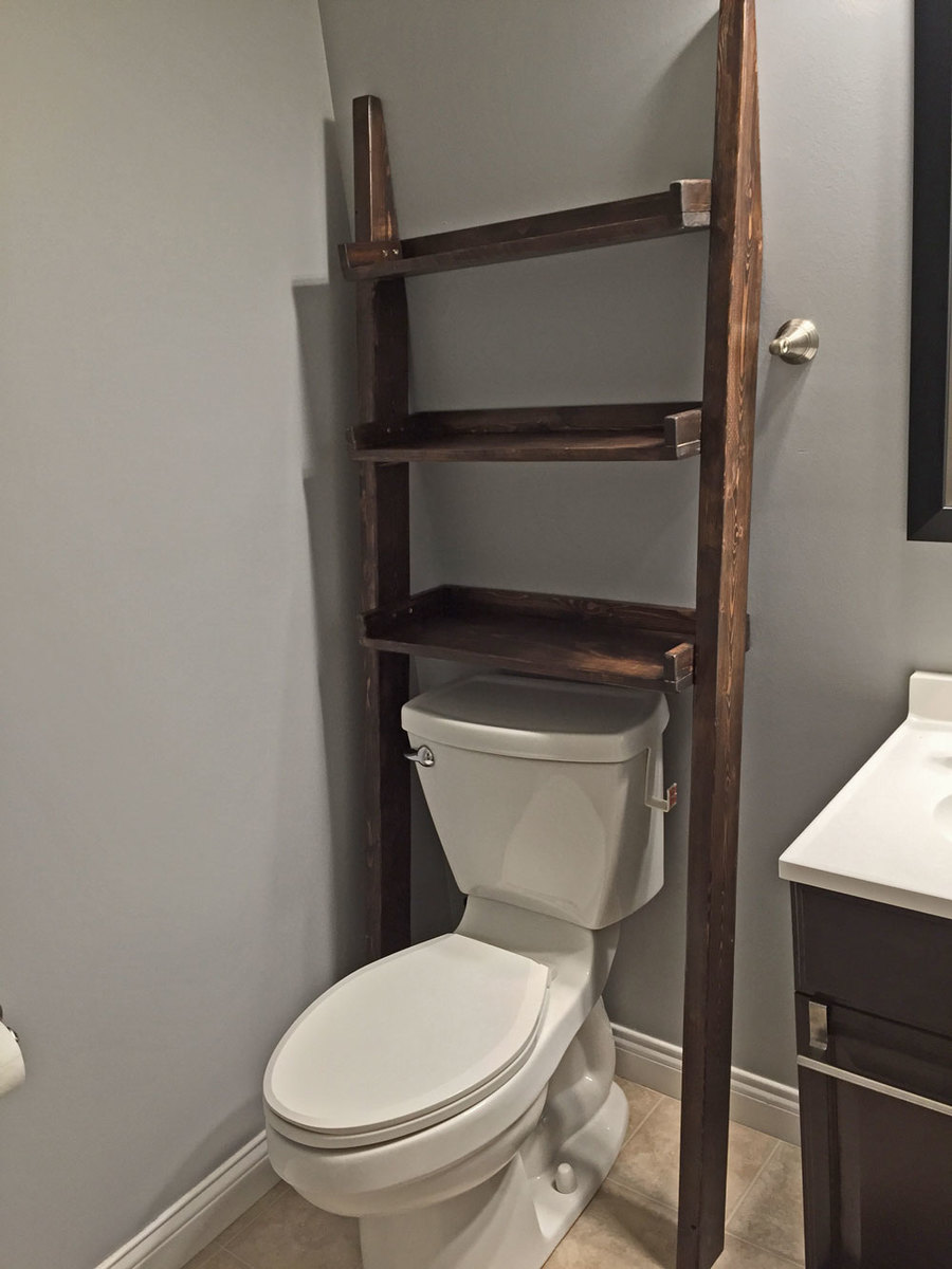 Ana white leaning bathroom ladder shelf diy projects for Bathroom over the toilet shelf