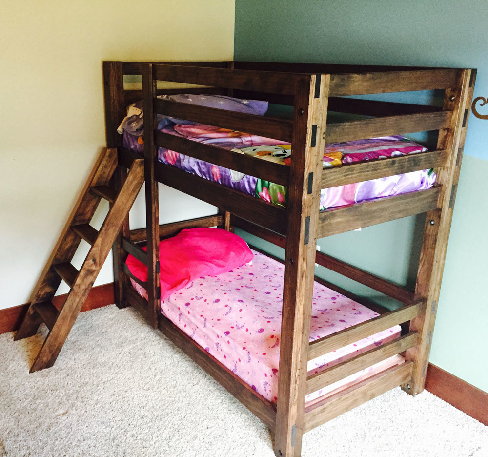 these bunk beds are unique because they are easy to build and can be assembled and disassembled easily ladder is integrated into the design - Bunk Beds Design Plans