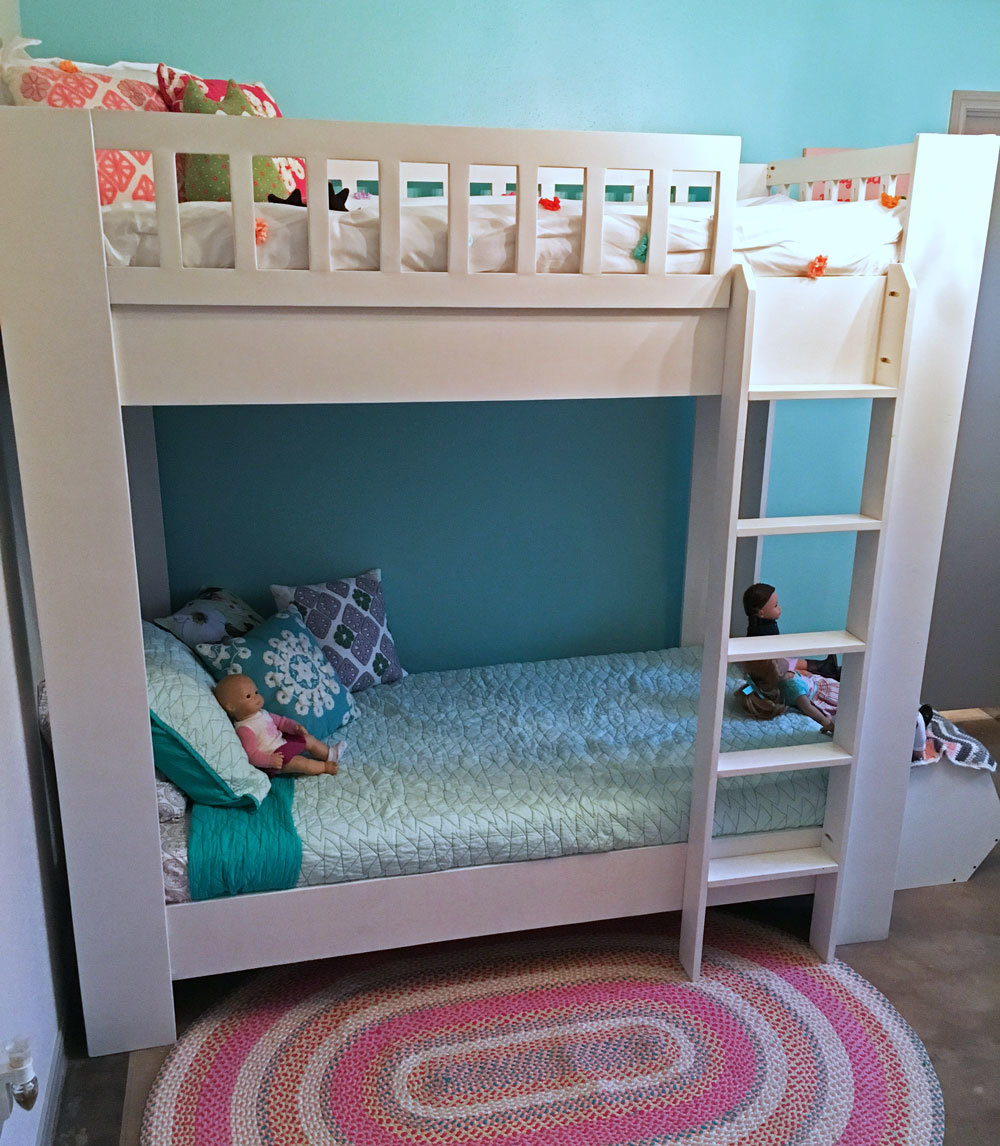ana white rustic modern bunk bed diy projects. Black Bedroom Furniture Sets. Home Design Ideas