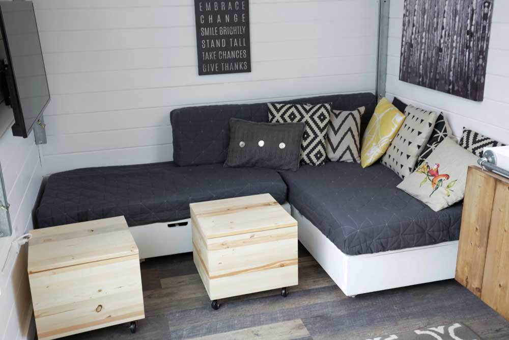 ana white | making cushions for tiny house storage sectional - diy Couch Pillow Cover Pattern
