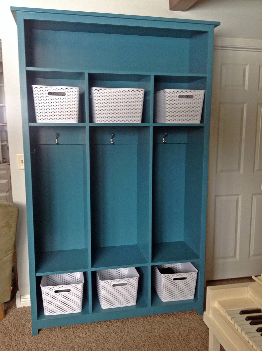 freestanding wood locker bookshelf