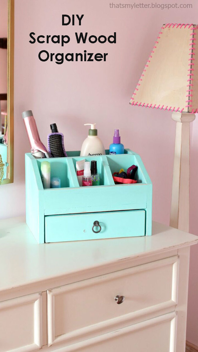 Ana white desktop office or vanity beauty organizer for Diy wood vanity