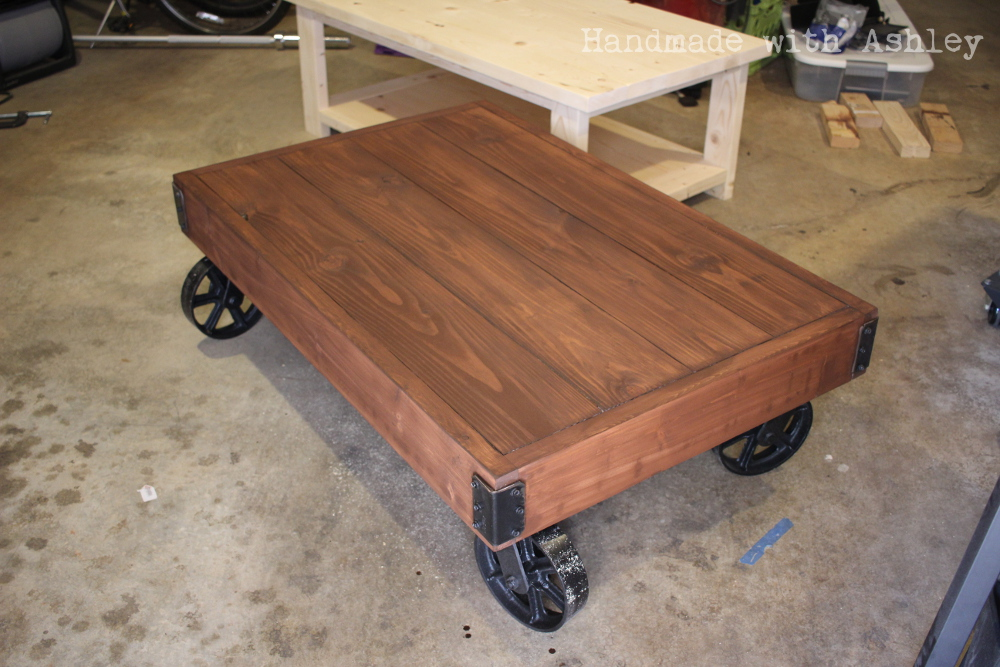 ana white diy industrial factory cart coffee table diy