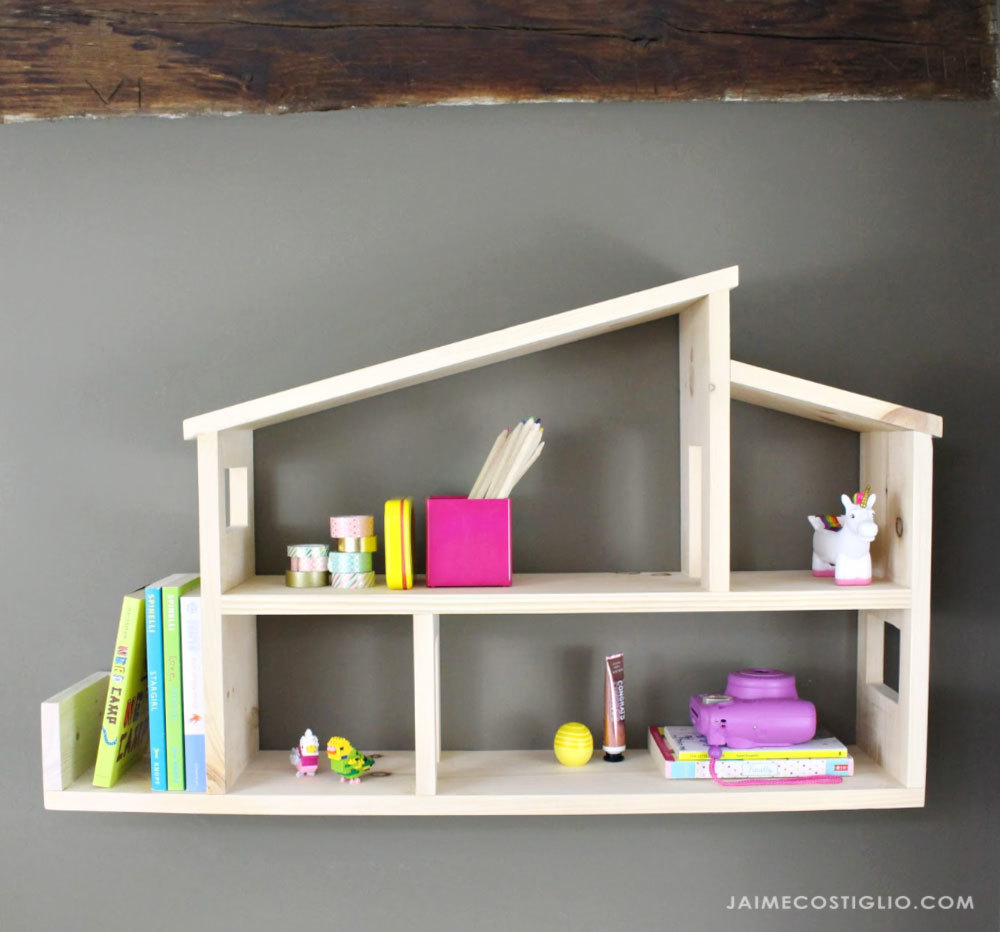modern wooden house shelf | ana white