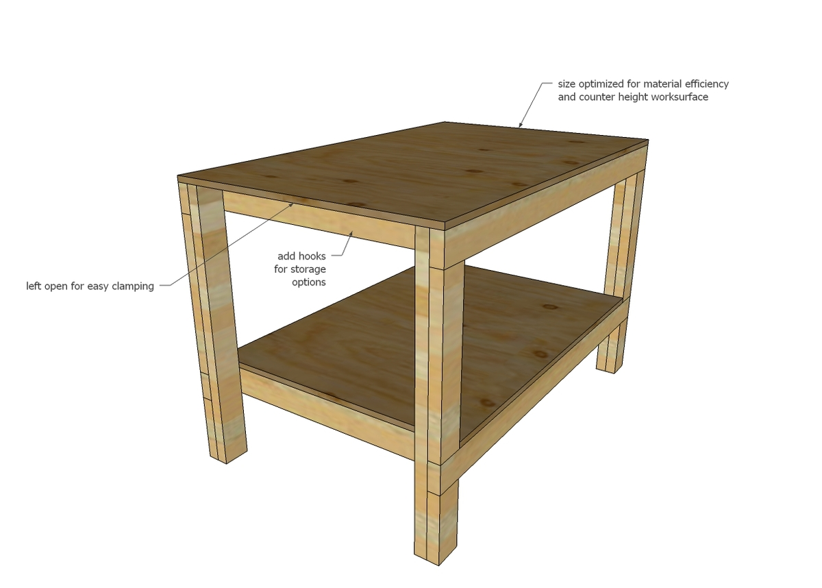 This workbench plan is a modification of this plan updated to a larger size  while still using similar amount of materials  also increased in height to   Ana White   Easy DIY Garage Workshop Workbench   DIY Projects. Free Plans Building Wood Workbench. Home Design Ideas