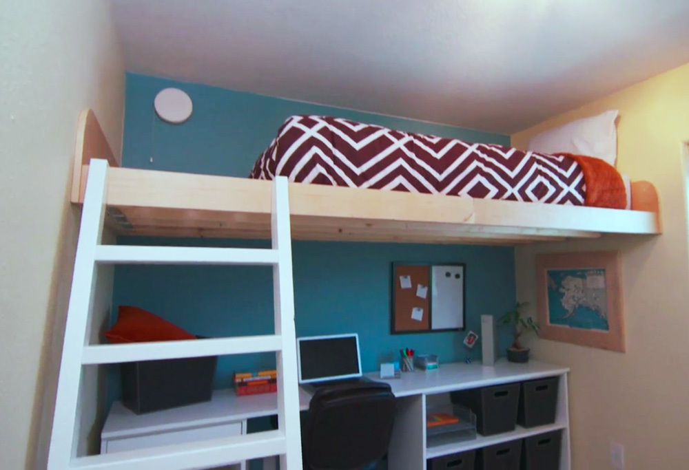 Ana white loft bed as seen on hgtv saving alaska diy for How to make a loft room