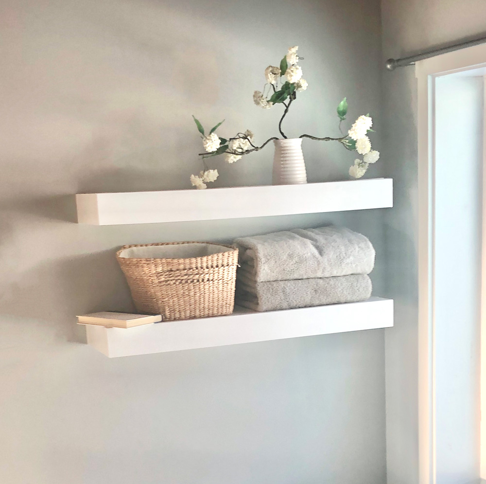 white floating shelf diy tutorial